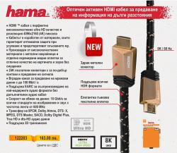 Оптичен активен HDMI кабел за предаване на информация на дълги разстояния