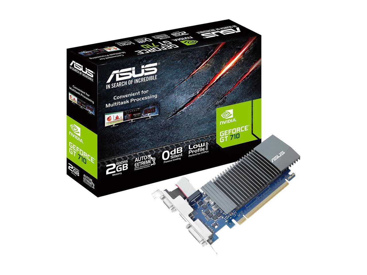 Видео карта ASUS GeForce GT 710, 2GB, GDDR5, 64 bit, D-Sub, DVI-D, HDMI GT710-SL-2GD5-BRK