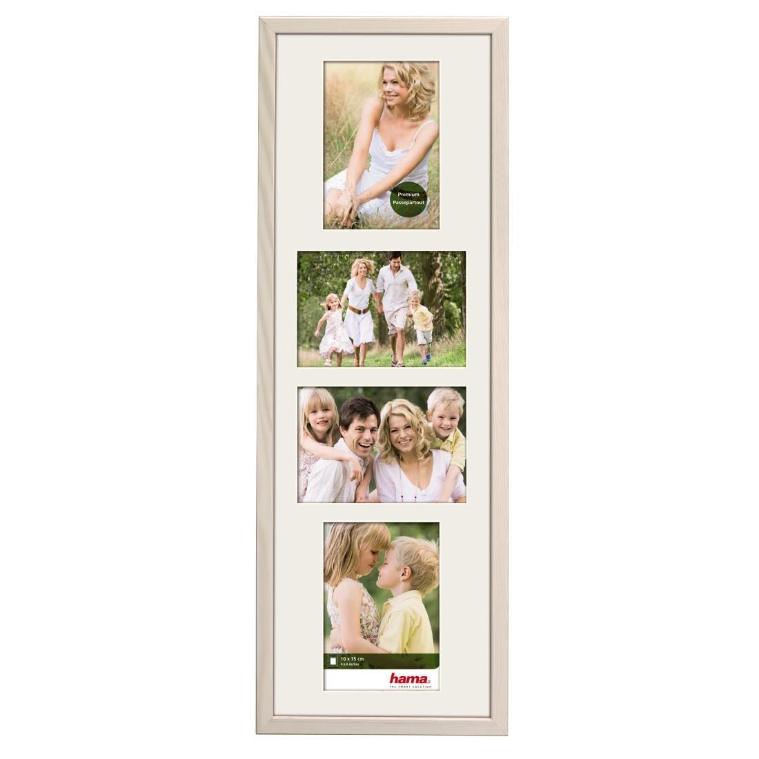 """Дървена рамка """"Guilia"""", 20 х 61 см за 4 снимки, бял"""