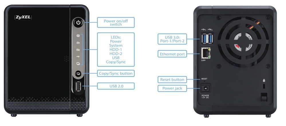 Мрежов сторидж ZyXEL NAS-326, за 2 диска, до 12TB, 1.3GHz, 512MB, Гигабит, USB3.0