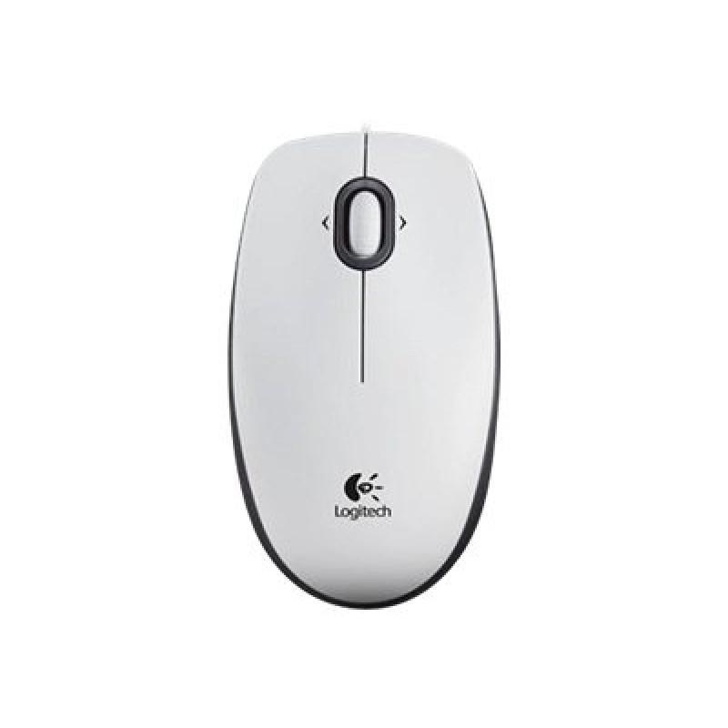 Жична оптична мишка LOGITECH B100, Бял, USB