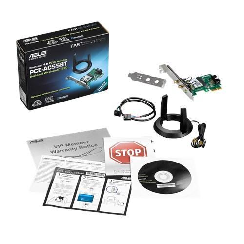 Безжичен PCI Express адаптер ASUS PCE-AC55BT, Wireless 802.11ac 2*2 Dual-band, Bluetooth 4.0