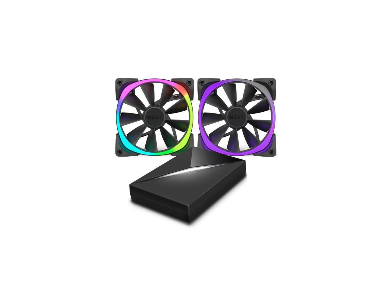 Комплект вентилатори NZXT Aer RGB140 2 броя и NZXT HUE+ контролер
