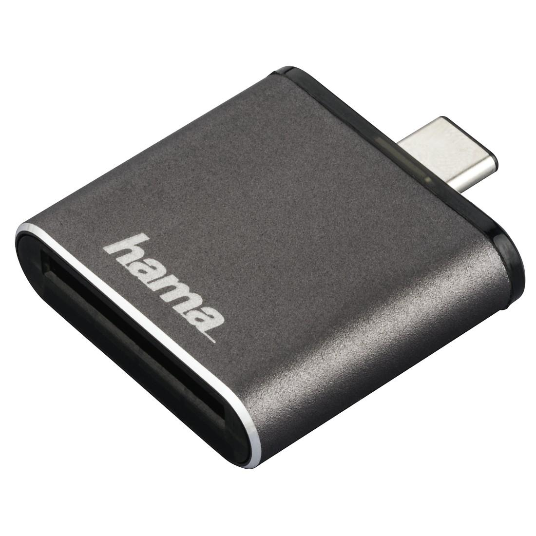 Четец за карти HAMA 124186  USB 3.1 Type-C,SD UHS-II, сив