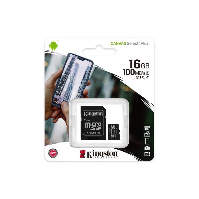 Карта памет Kingston Canvas Select Plus  microSDHC 16GB, Class 10 UHS-I