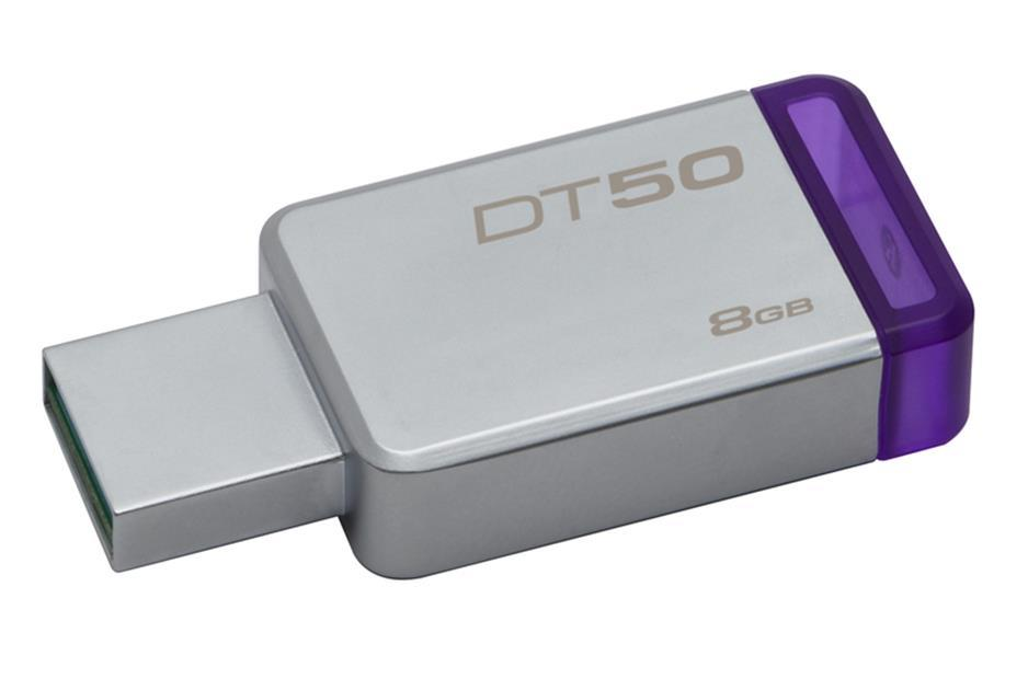 USB памет KINGSTON DataTraveler 50 8GB, USB 3.0, Сребрист/Лилав