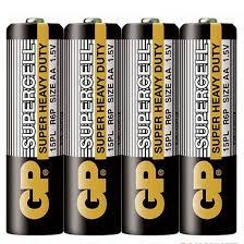 Цинк карбонова батерия GP SUPERCELL 15PL-S4, R6, 4 бр. в опаковка / shrink, 1.5V