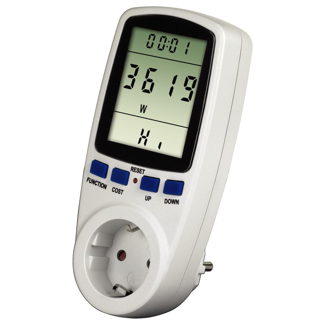 Уред за измерване разхода на напрежение, ток и консумирана мощност HAMA Premium 47770, Бял