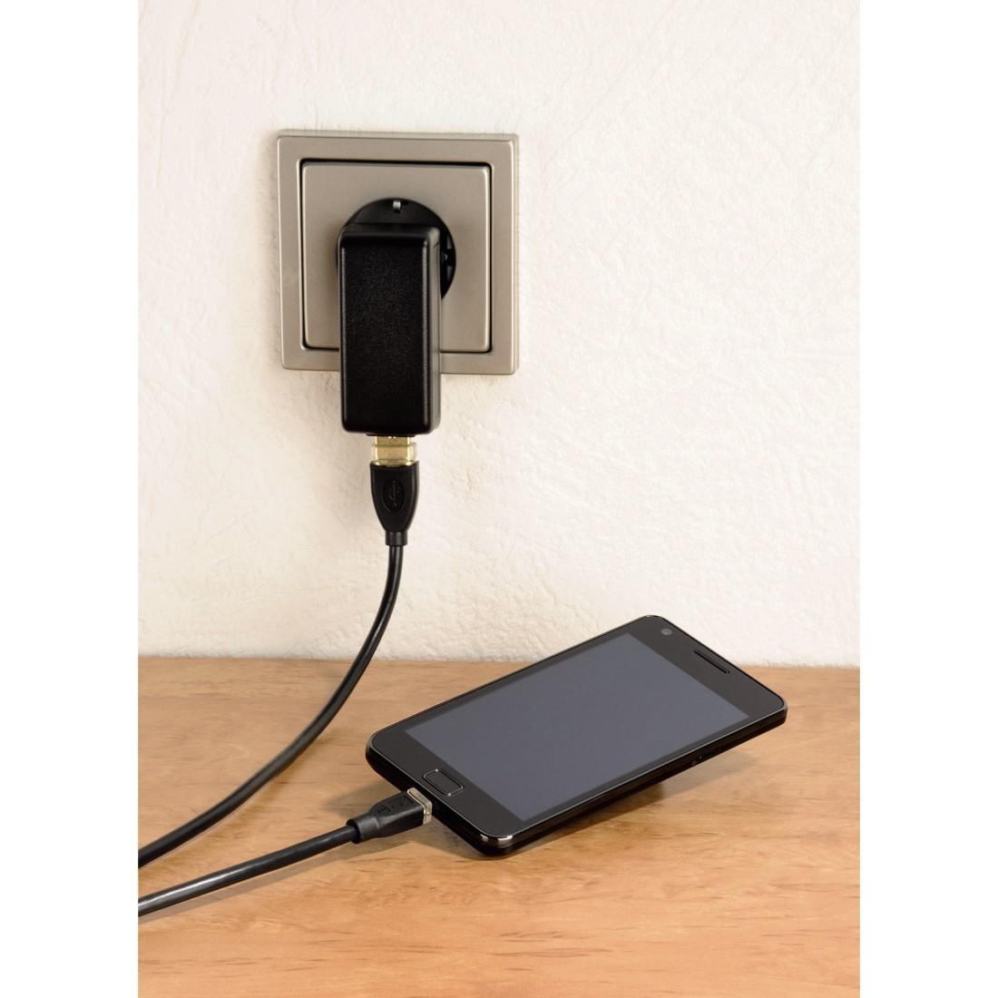 Кабел HAMA 78490 Micro USB 2.0, Позлатени конектори, 0.75 м., Черен
