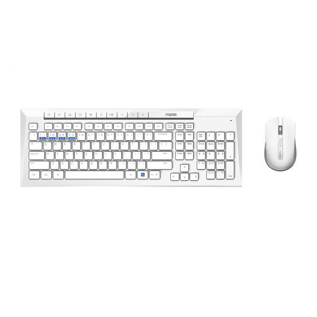 Комплект клавиатура и мишка RAPOO 8200M Multi mode, Bluetooth &2.4Ghz, Безжичен, Бял