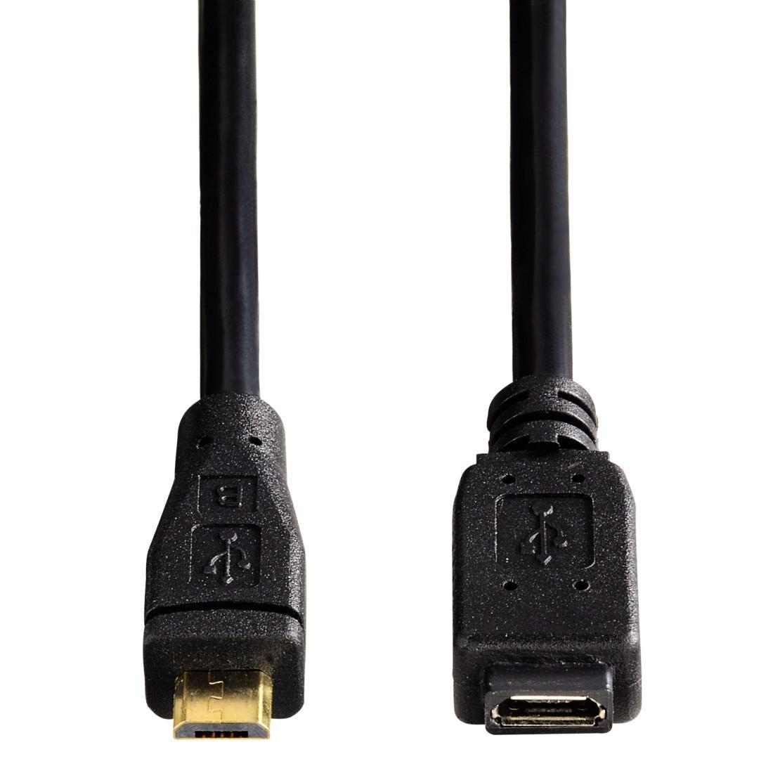Удължителен кабел HAMA 54557 Micro USB 2.0, Позлатени конектори, 0.75 м., Черен