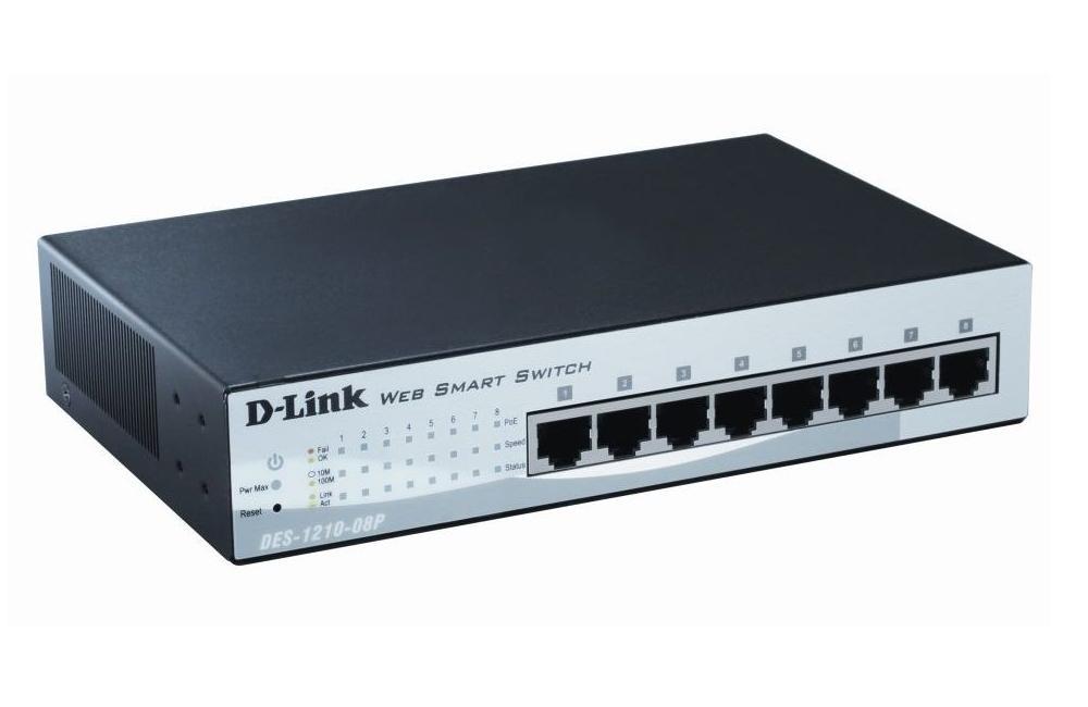 Суич D-Link 8 port PoE  10/100, управляем, метален корпус