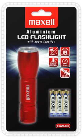 Алуминиев Фенер ZOOM LED + 3 АAА батерии WTE-428 MAXELL