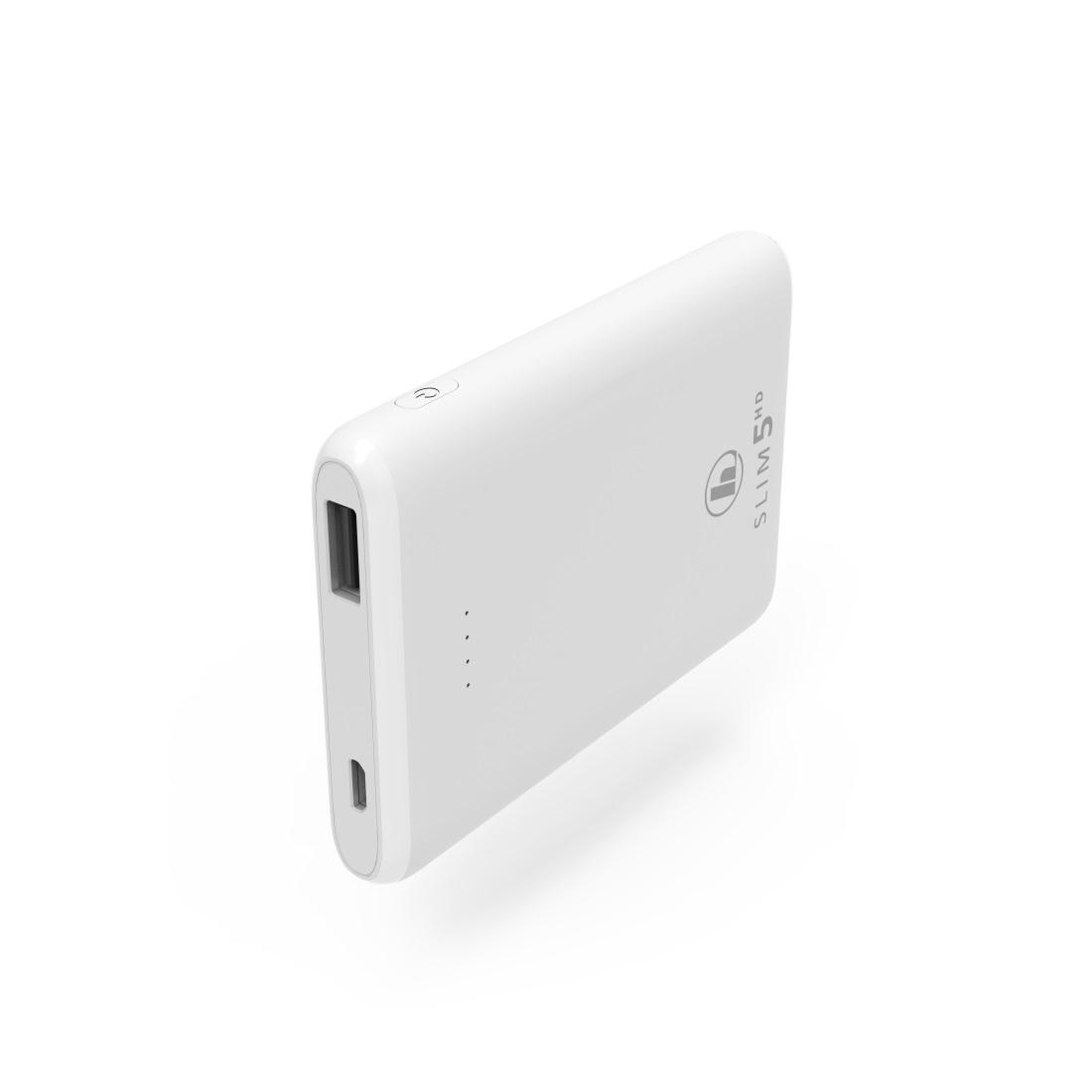 Външна батерия HAMA SLIM 5HD, 5000 mAh, LiPolym, USB-A, Бял