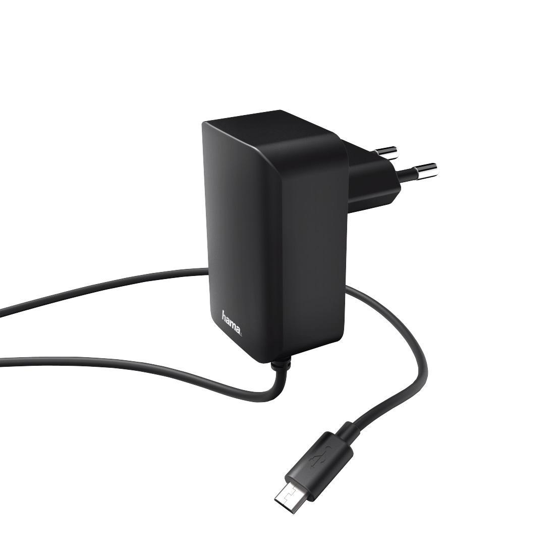 Зарядно HAMA 178301, 100V-240V, microUSB, 2.4 A, Черен