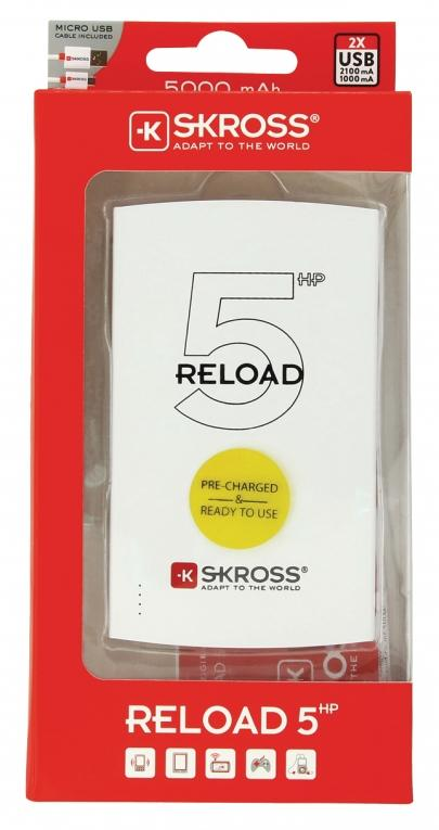 Външна батерия SKROSS RELOAD 5 HP, 5000 mAh, Бял