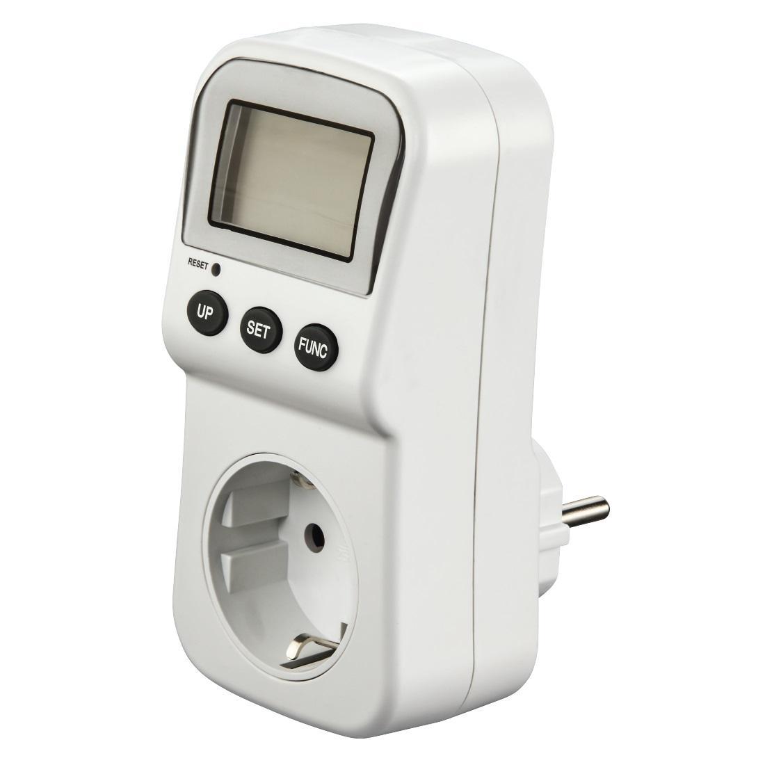Уред за измерване на напрежение, разхода на ток и консумирана мощност HAMA Digital 137289, Бял