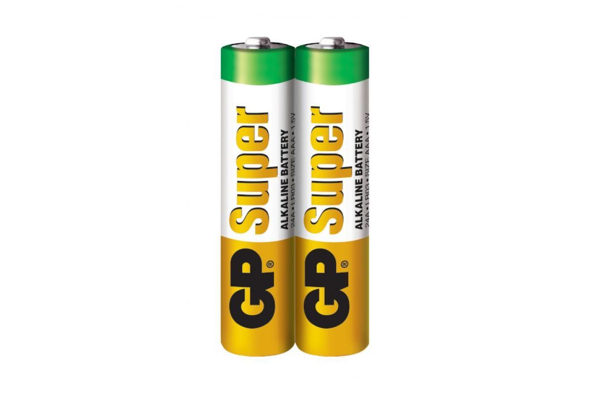 Алкална батерия GP SUPER LR03 AAA, 2 бр. в опаковка / shrink, 1.5V, GP24A