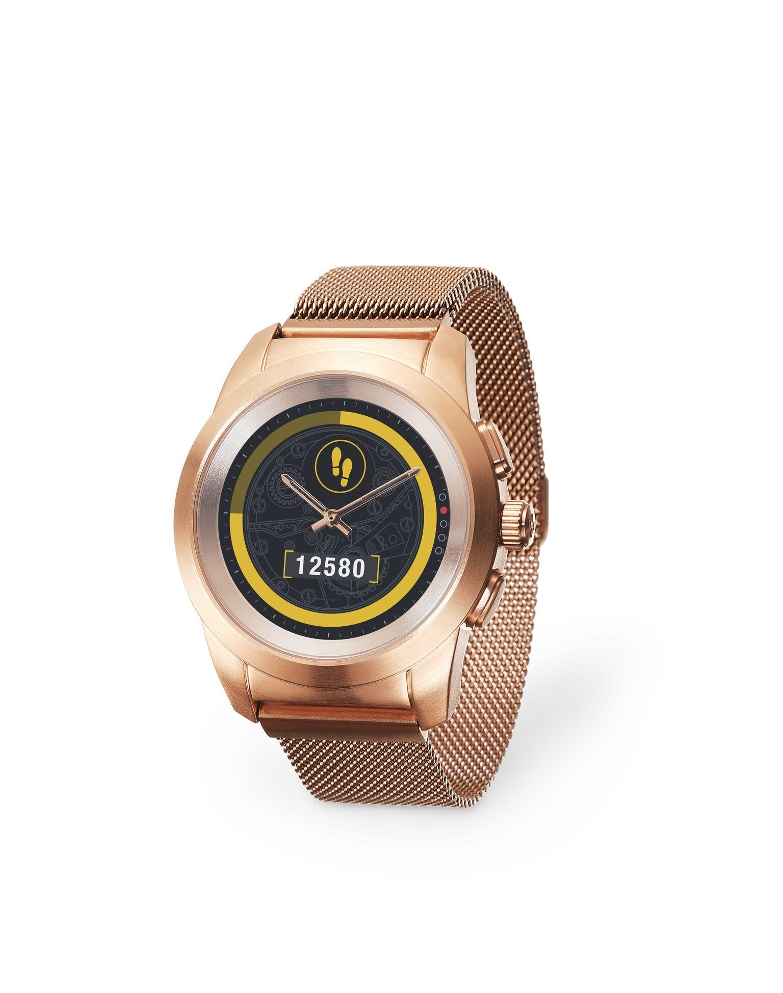 Хибриден смарт часовник MyKronoz ZeTime Elite Regular Brushed Pink Gold/Milanese, метална каишка