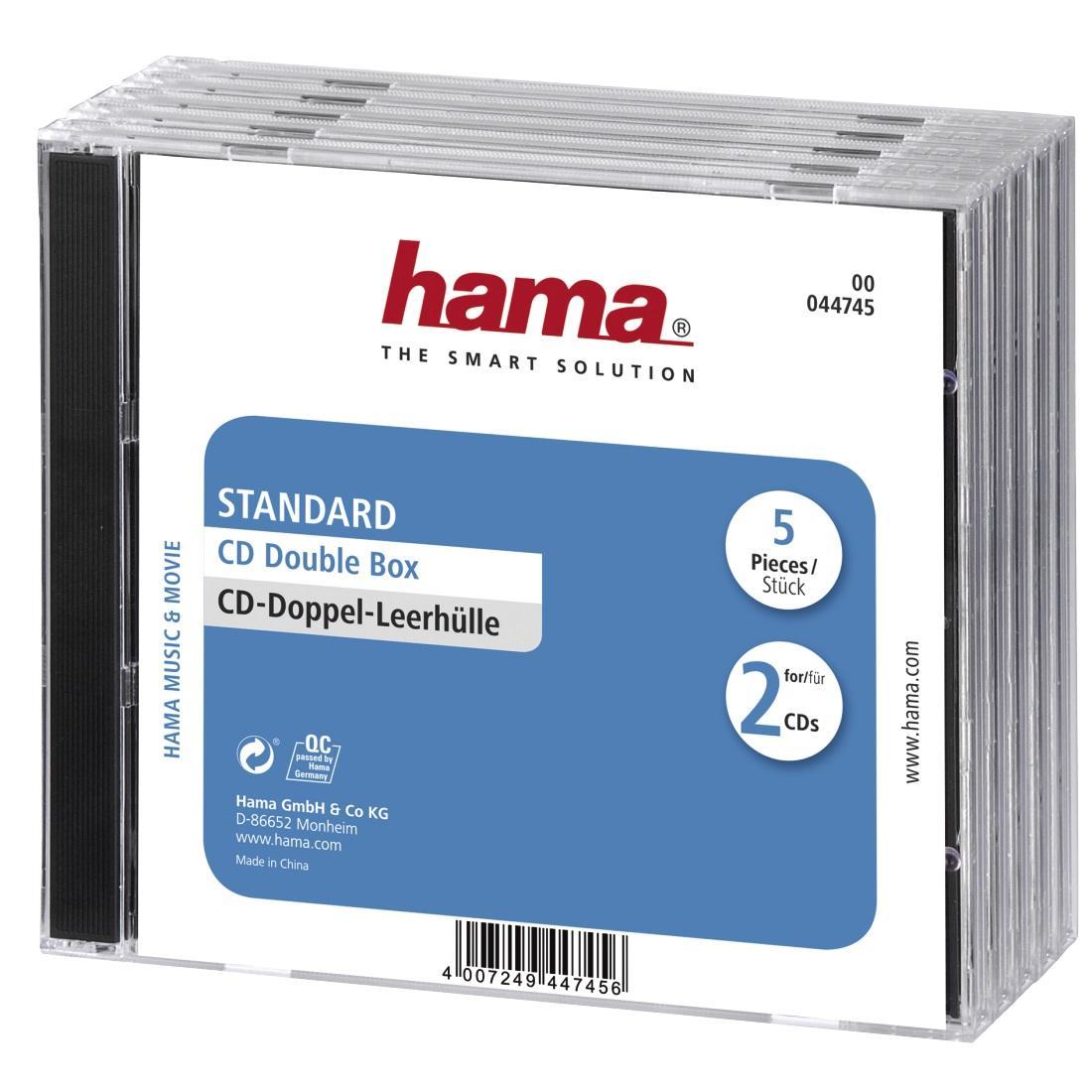 Кутийка за CD/DVD HAMA Double Jewel Case, прозрачен/черен, 5 бр. в пакет