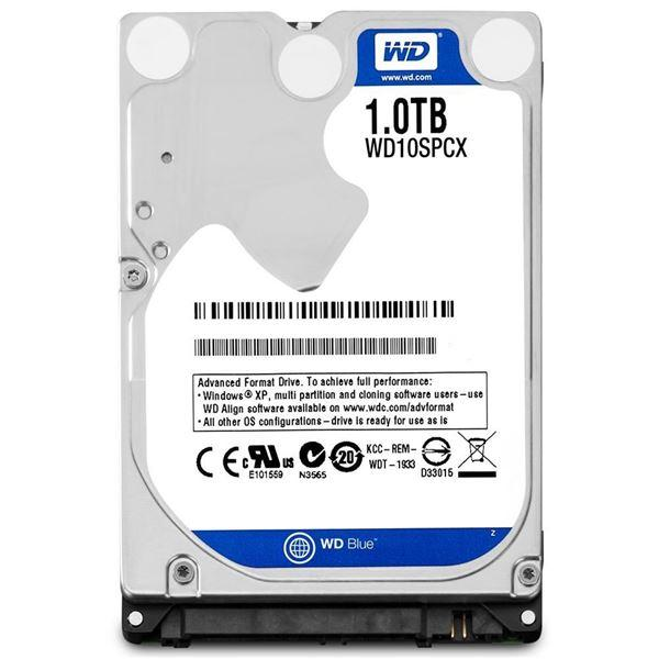 Хард диск за лаптоп WD Blue, 1TB, 5400rpm, 16 MB, SATA 3Gb/s, 7 mm, WD10SPCX