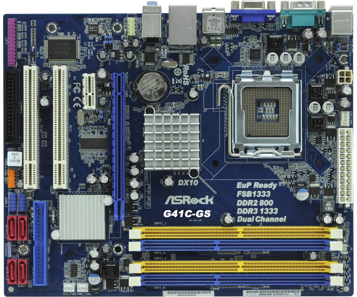 Дънна платка ASROCK G41C-GS, Socket 775, Micro ATX, DDR/DDR3