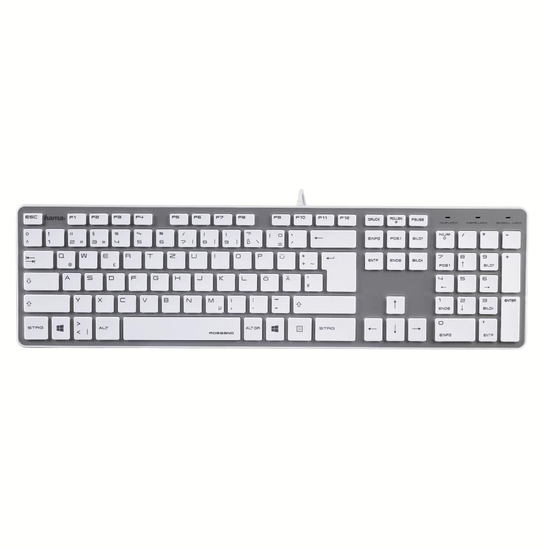 Клавиатура Rossano сивo-бяла, USB, безшумни клавиши