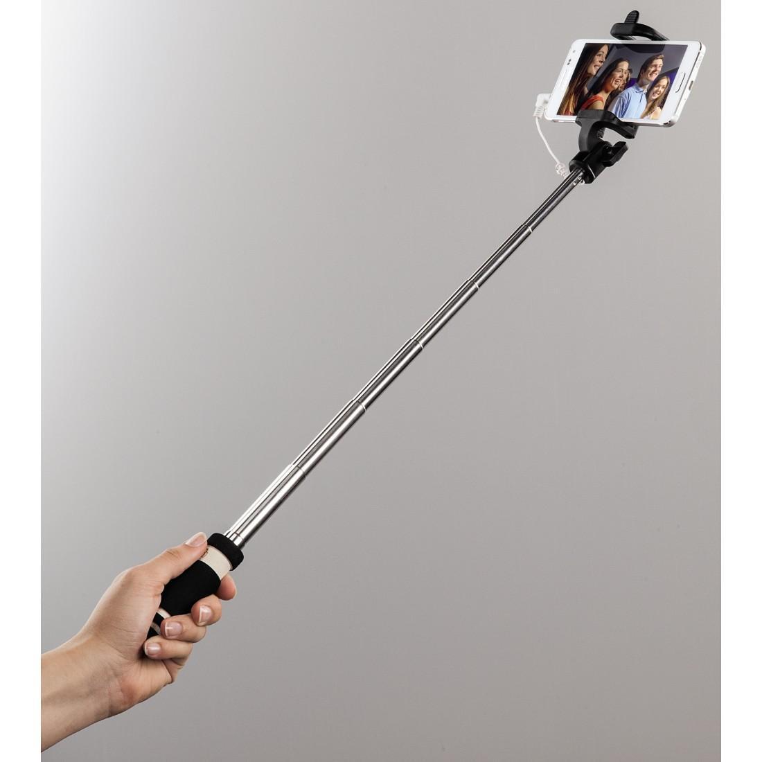 Монопод - селфи HAMA Pocket 139660, Вграден кабел с 3.5мм жак, Метал, Черен