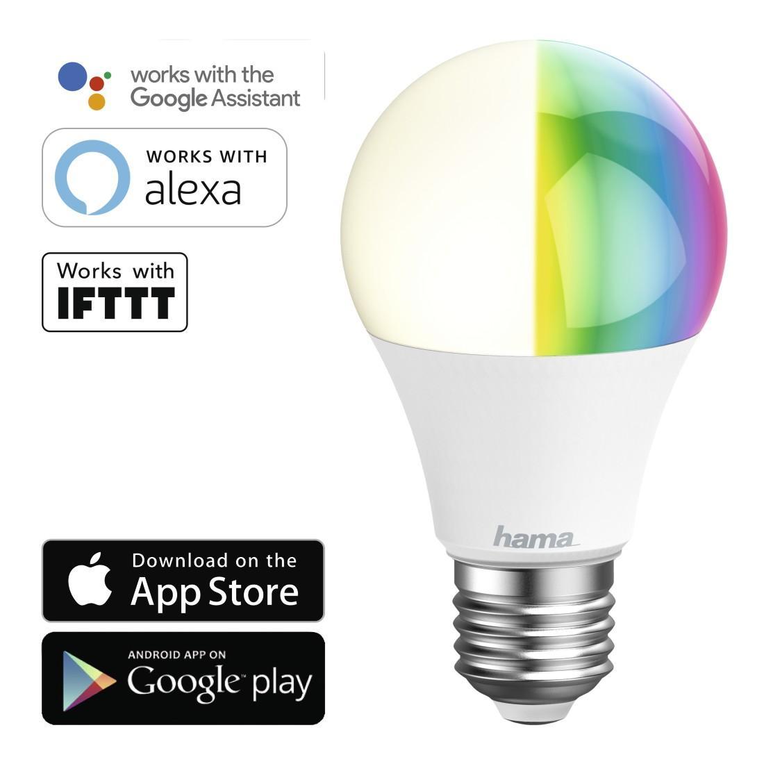 Димираща RGB крушка HAMA WiFi-LED, 10W, E27, 806 lm
