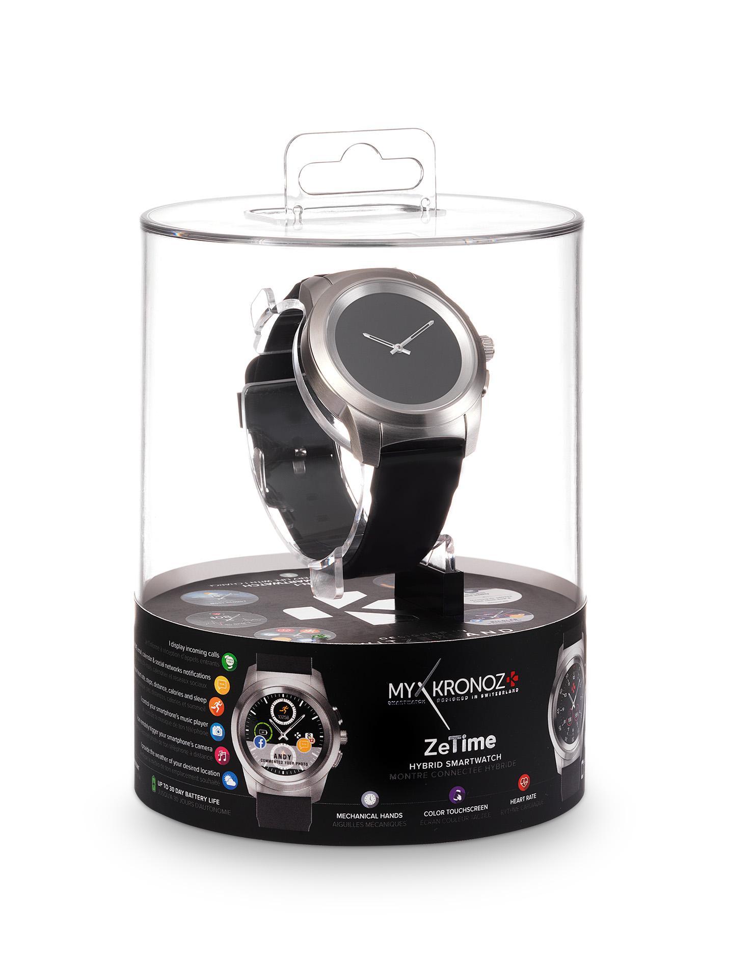 Хибриден смарт часовник MyKronoz ZeTime Original Silver/Black, силиконова черна каишка