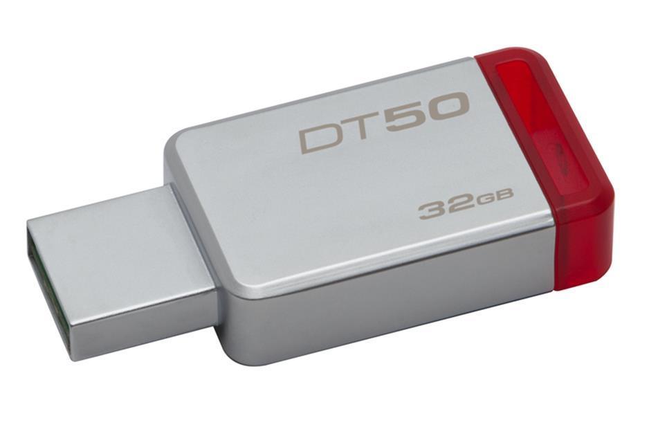 USB памет KINGSTON DataTraveler DT50, 32GB, USB 3.0, Сребрист/Червен
