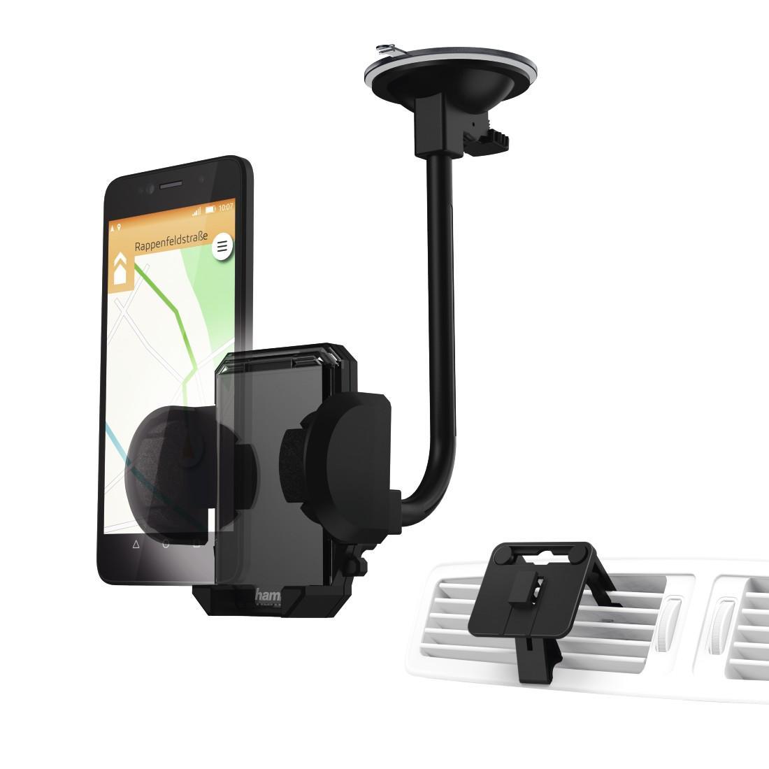 Универсална поставка/комплект/ за навигации/телефон/таблет за стъкло и кола HAMA 173880, размер 4 - 11 см, Черен
