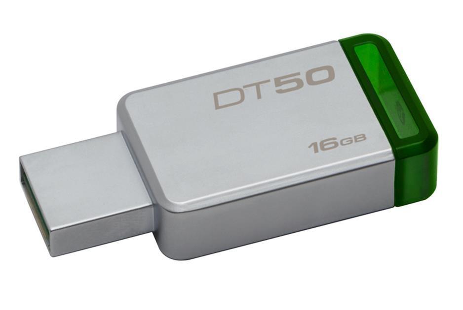 USB памет KINGSTON DataTraveler 50 16GB, USB 3.0, Сребрист/Зелен