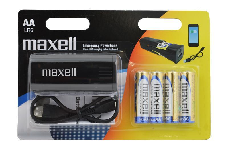 Външна батерия MAXELL Emergency AA Battery, 800 mAh, Черен
