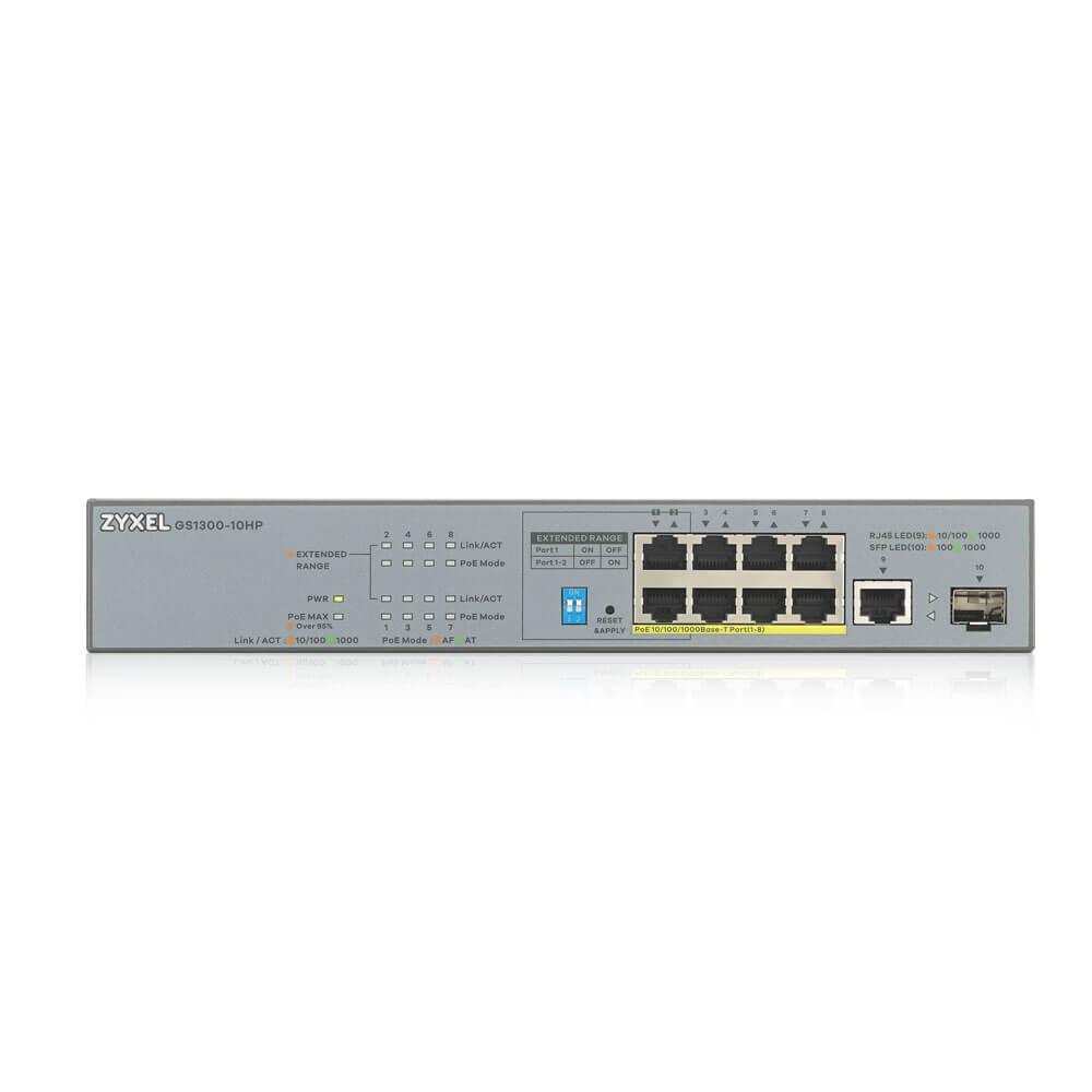 Суич ZYXEL GS1300-10HP, 8 портов управляем, PoE, Gigabit