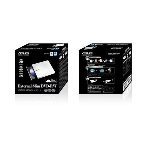 Външно USB DVD записващо устройство ASUS SDRW-08D2S-U LITE, USB 2.0, бяло