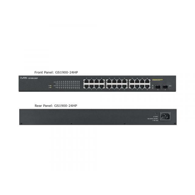 Суич ZYXEL GS1900-24HP, 24 портов управляем PoE, за монтаж в шкаф