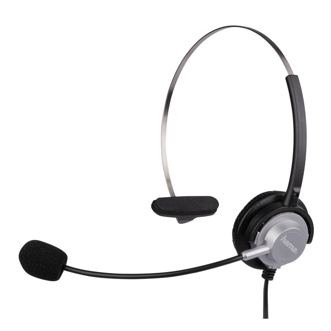 Слушалки HAMA с микрофон за жичен телефон, Черен/Сив