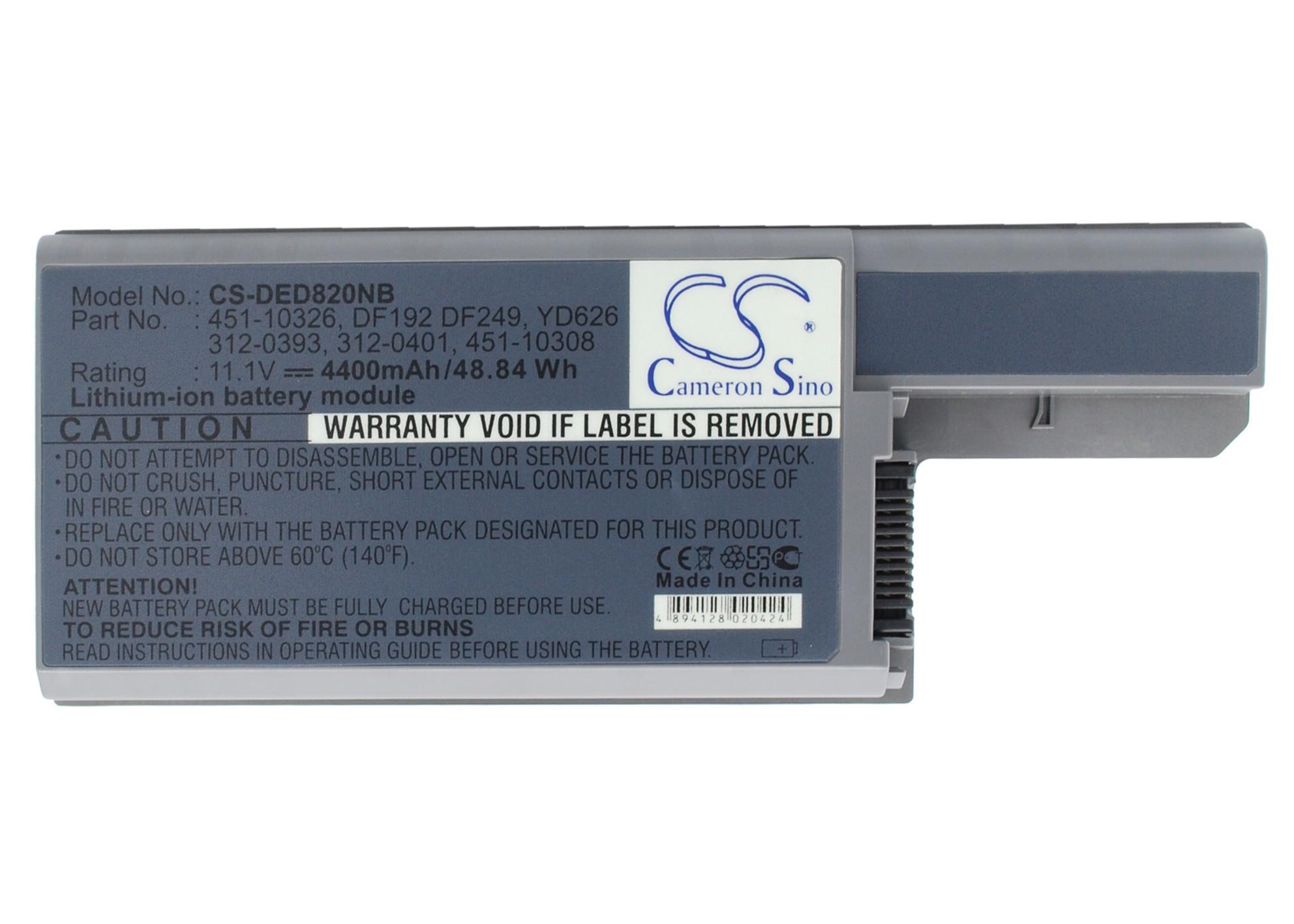 Батерия за лаптоп DELL Latitude D820/D830, 11.1V, 4400mAh, Черен, Cameron sino