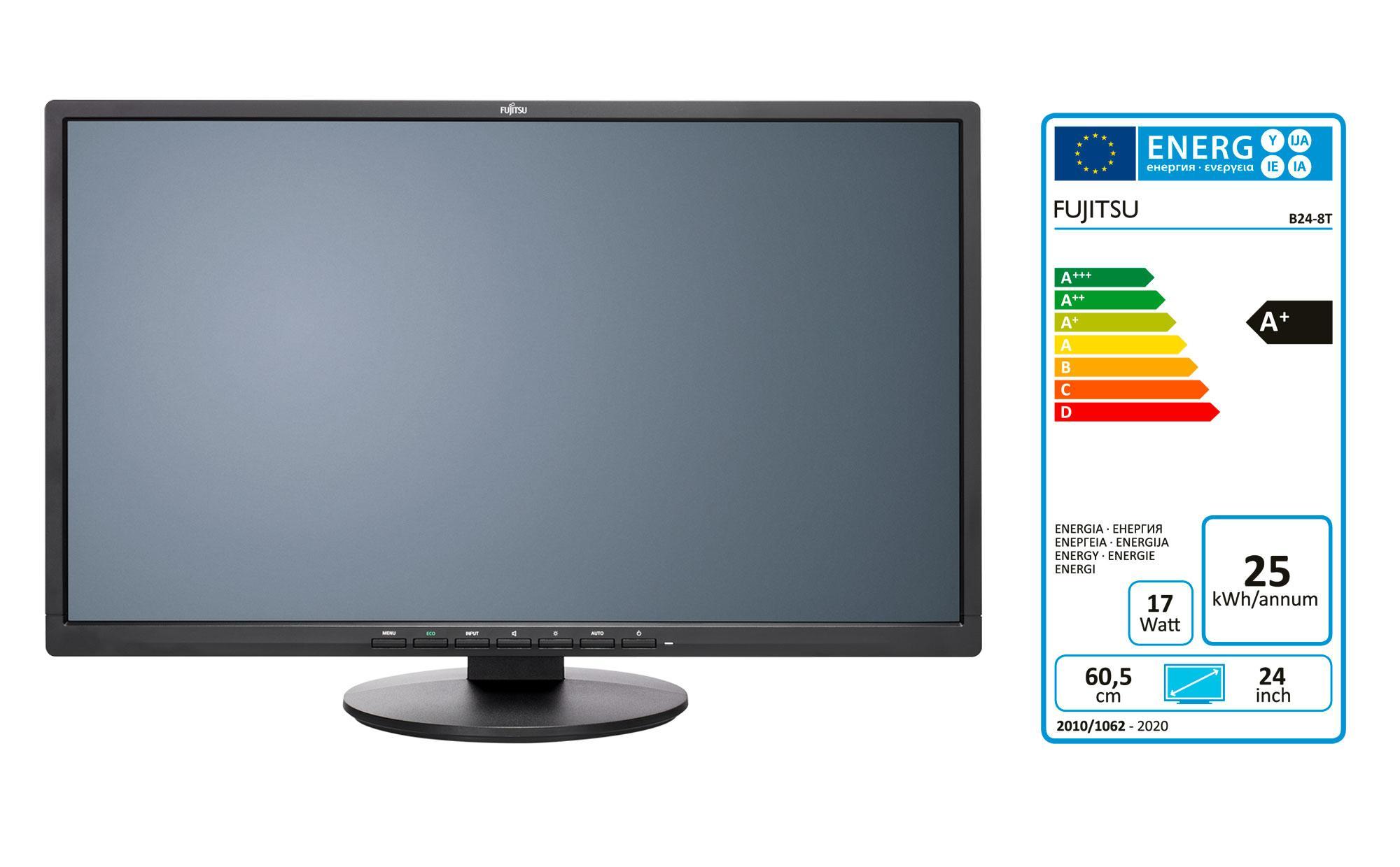 Монитор FUJITSU E24-8 TS Pro, IPS, 23.8 inch, Wide, Full HD, DVI, VGA, DisplayPort, Черен