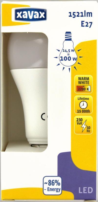 LED крушка XAVAX 112287, 14.5W, E27, 2700K, bulb