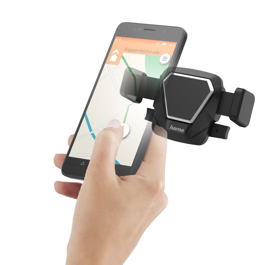 Универсална стойка за кола и стъкло HAMA Comfort, за телефони с размер 5.5 - 8.5 см, Черен