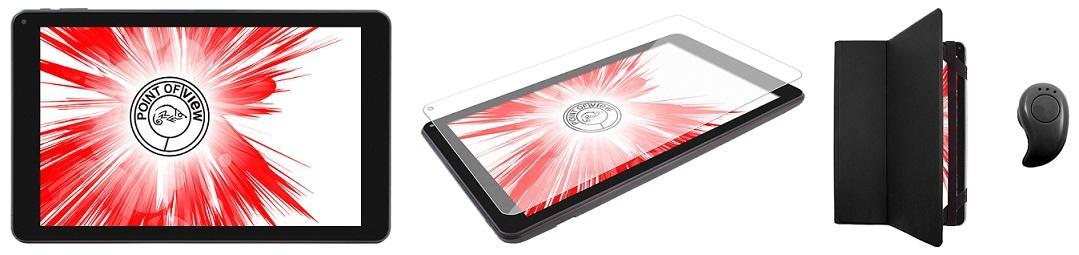 "Бизнес комплект Таблет Point of View  Mobii 1048 IPS, Quad Core A33 (до 1.2 GHz), 10"", IPS, 1GB,8GB, Wi-Fi, Android 6.0, Черен,Защитно стъкло,Bluetooth тапи, Калъф"