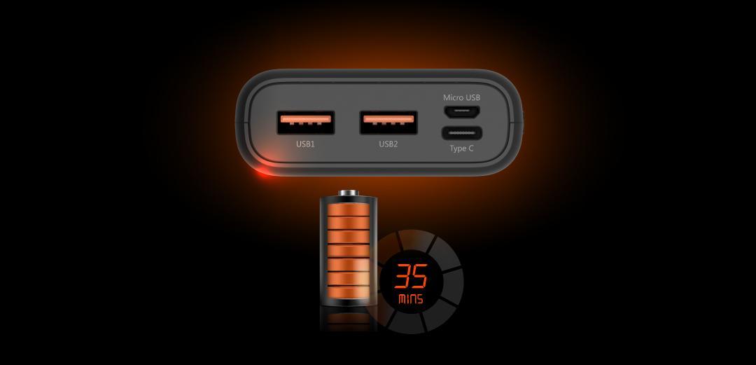 Външна батерия Silicon Power Powerbank Cell C20QC 20000 mAh