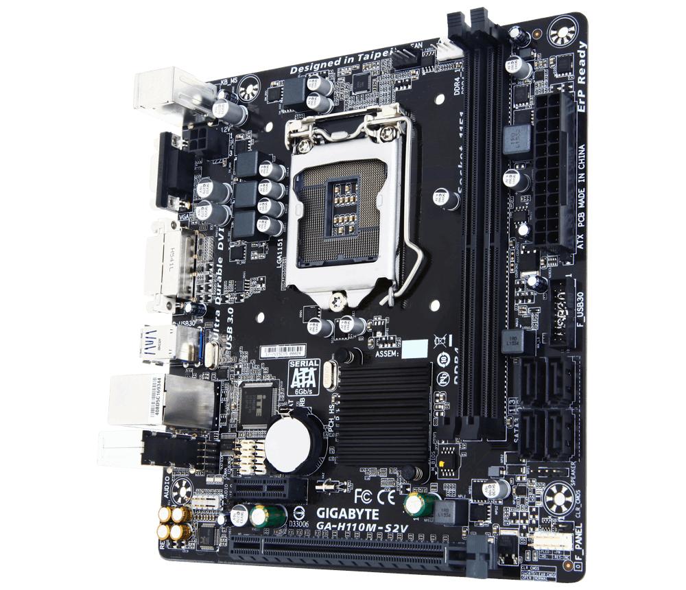 Дънна платка GIGABYTE H110M-S2V , Socket 1151, Micro ATX, DDR4, rev 1.0