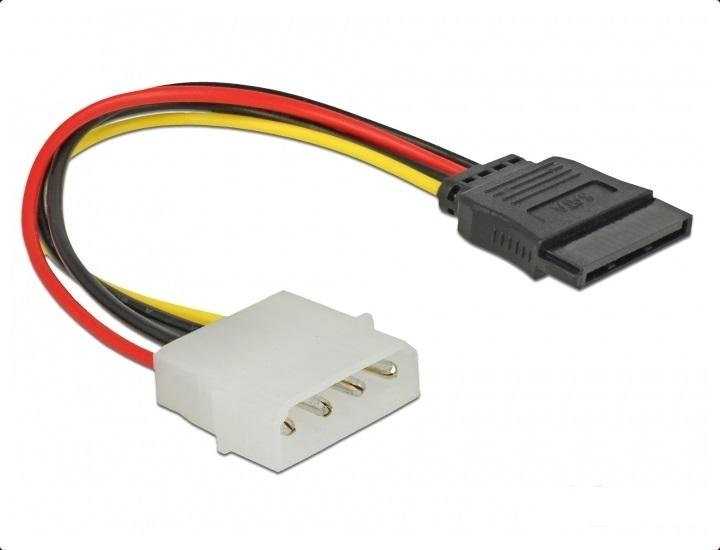 Кабел DeLock Molex 4 pin към SATA 15 pin, 12 cm