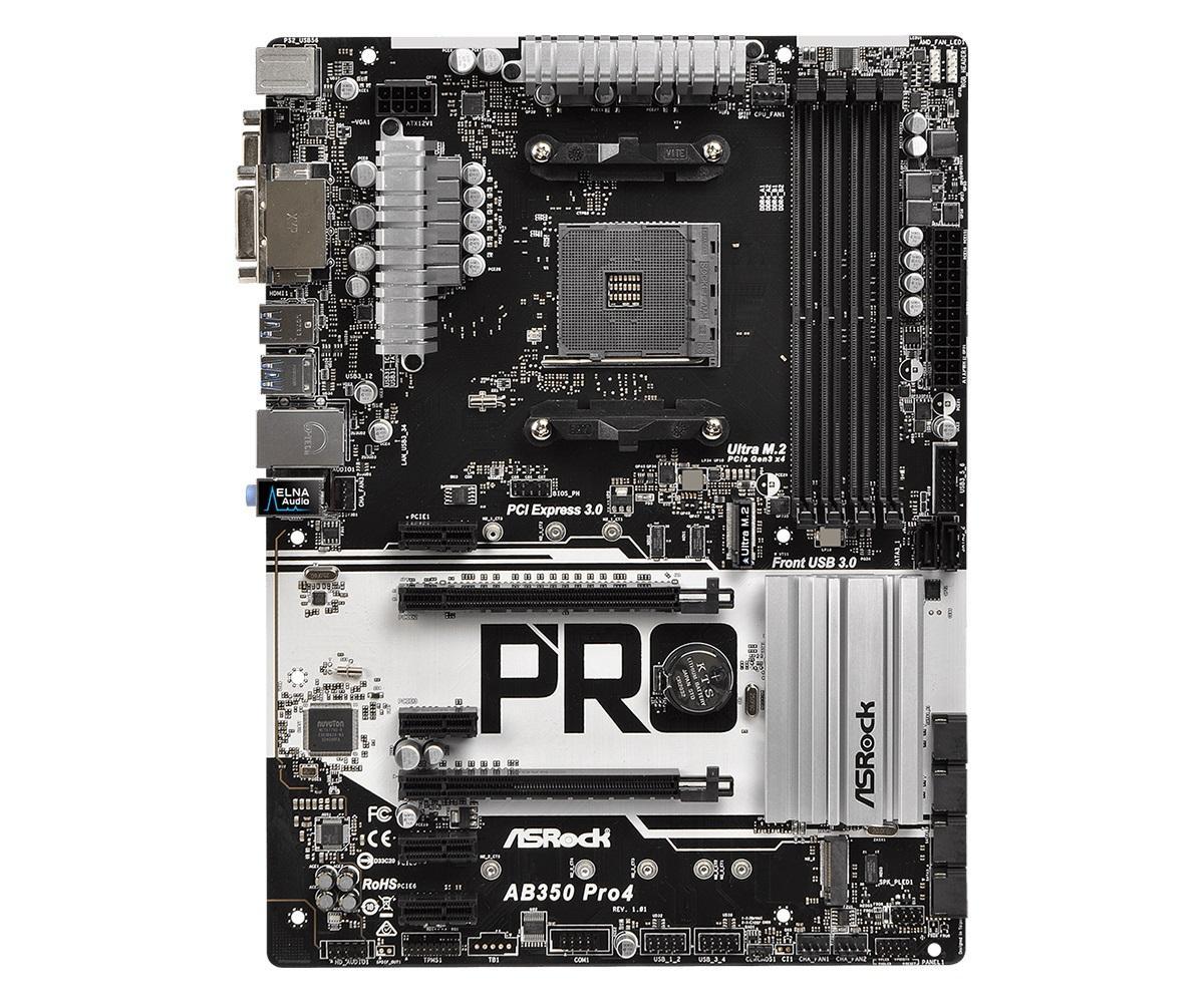 Дънна платка ASROCK AB350 Pro4, Socket AM4, ATX, DDR4