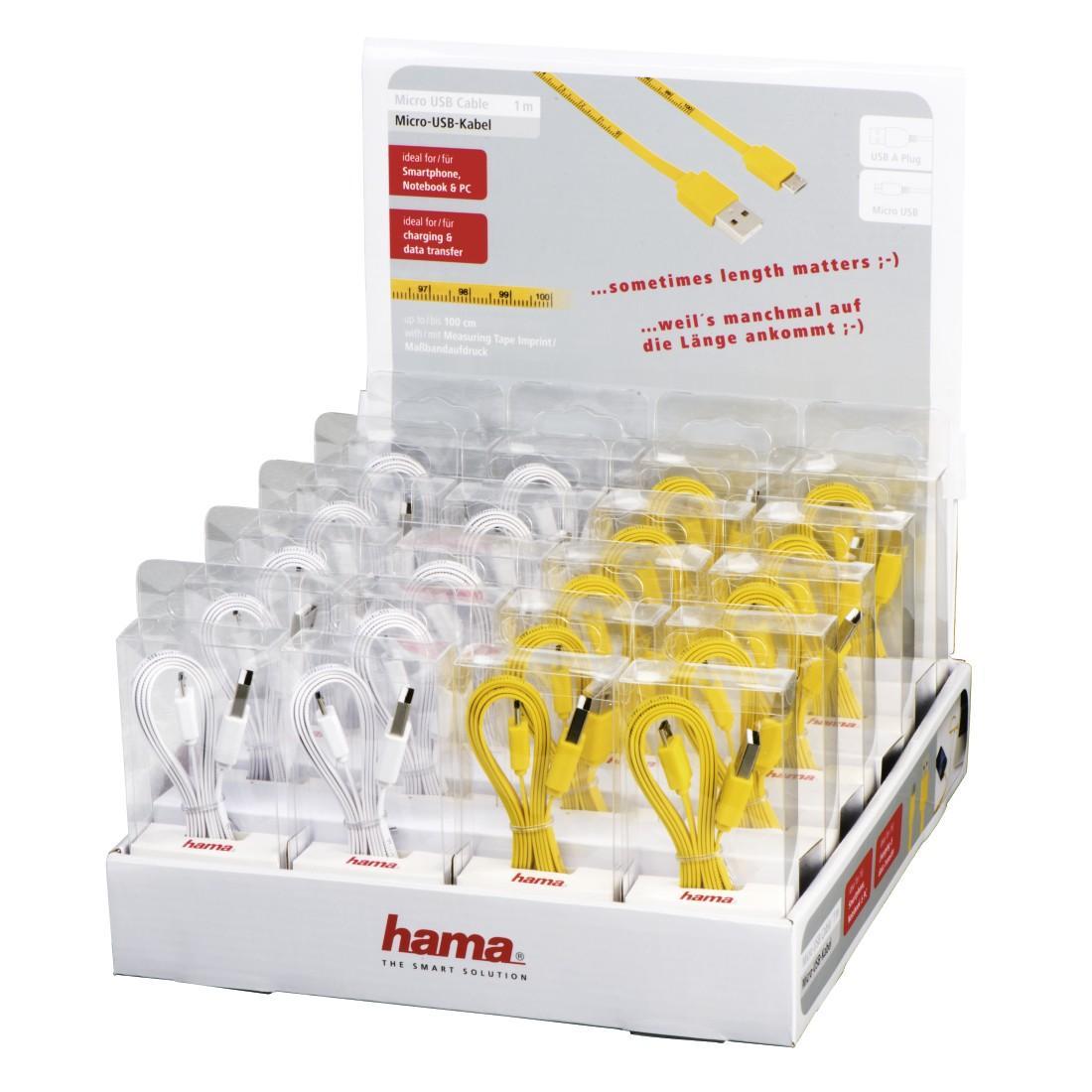 Кабел HAMA 12326, USB-A - MicroUSB, 1 м., USB 2.0, Измервателна лента, Бял/Жълт