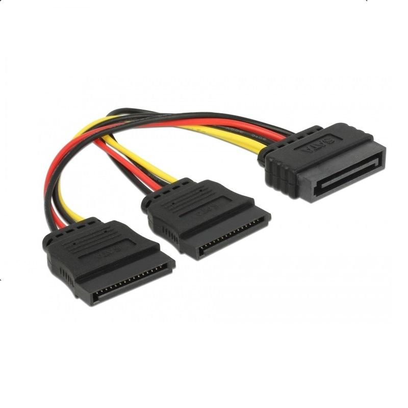 Кабел DeLock Power SATA 15 pin към 2 x SATA HDD, 15 cm