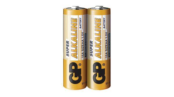 Алкална батерия GP SUPER LR6 AA, 2 бр. в опаковка / shrink, 1.5V, GP15A